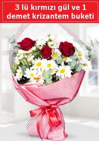 3 adet kırmızı gül ve krizantem buketi  Kırşehir çiçek yolla , çiçek gönder , çiçekçi