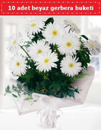 10 Adet beyaz gerbera buketi  Kırşehir çiçekçi telefonları