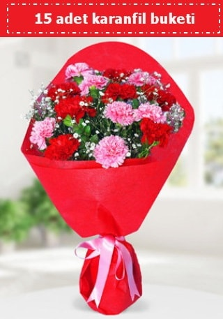 15 adet karanfilden hazırlanmış buket  Kırşehir online çiçek gönderme sipariş